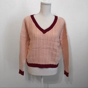 Light pink & burgundy cable knit sweater